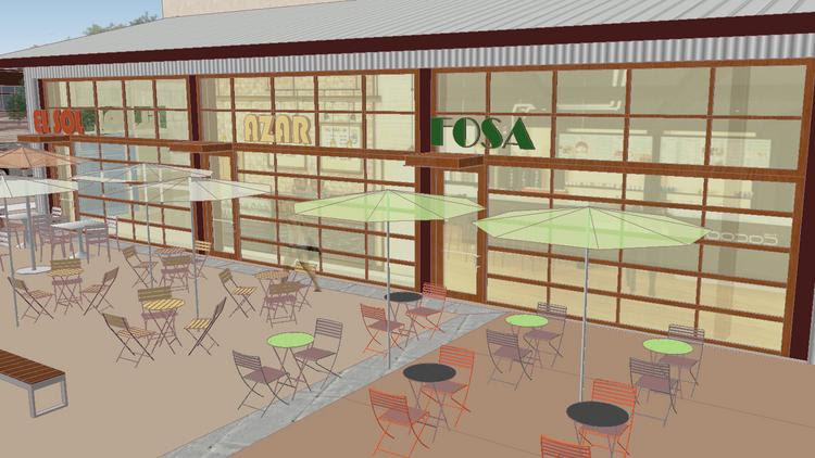A rendering of the micro-restaurant spaces at Waterside.