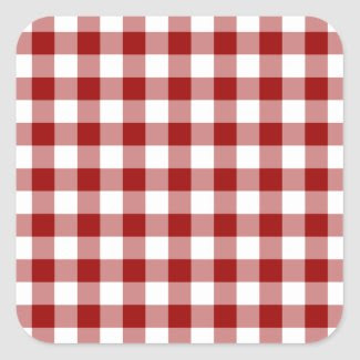 Red and White Gingham Pattern Stickers