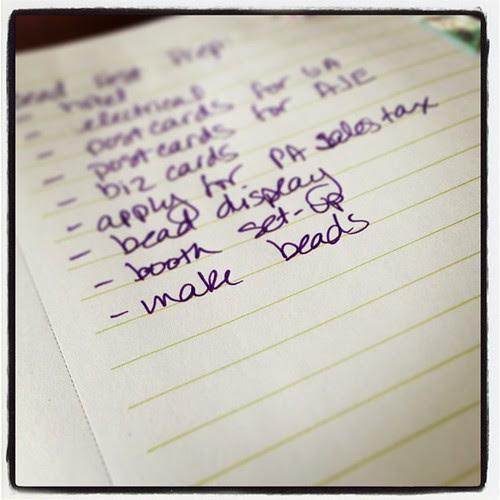 Bead Fest to do list