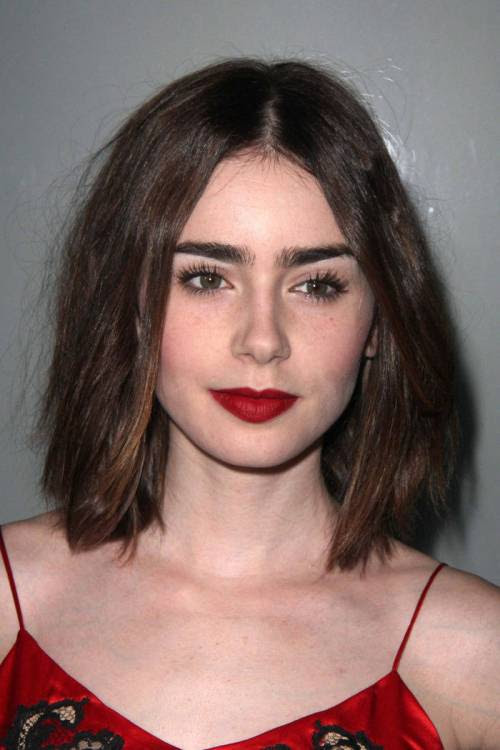 Lily Collins lob for thick hair
