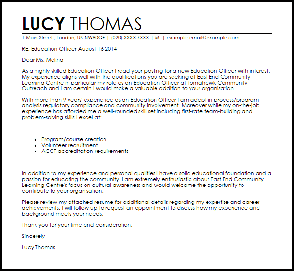 Education Officer Cover Letter Sample Livecareer
