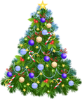 Transparent PNG Christmas Tree with Purple Ornaments