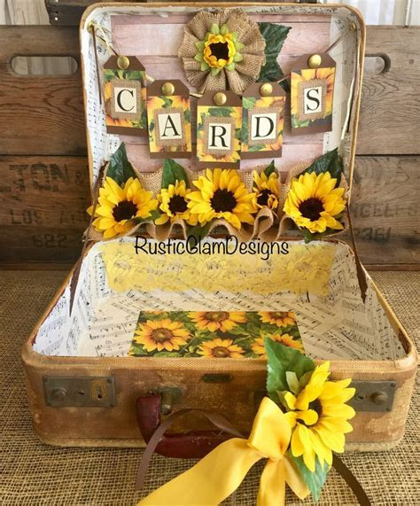 Vintage Suitcase Sunflower Wedding Card Holder Rustic