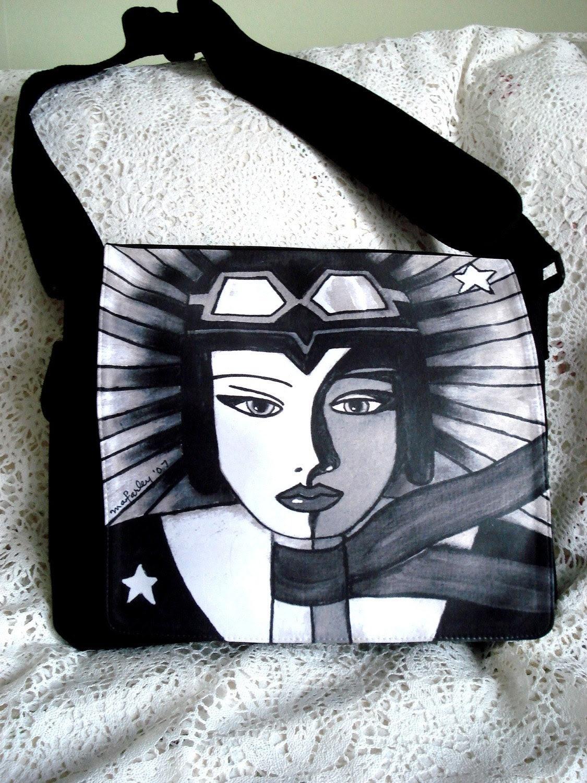 Canvas Messenger Bag, Crossbody Nylon Canvas Bag, Girl Art Aviator, Female Aviator, Black White - maryannfarley