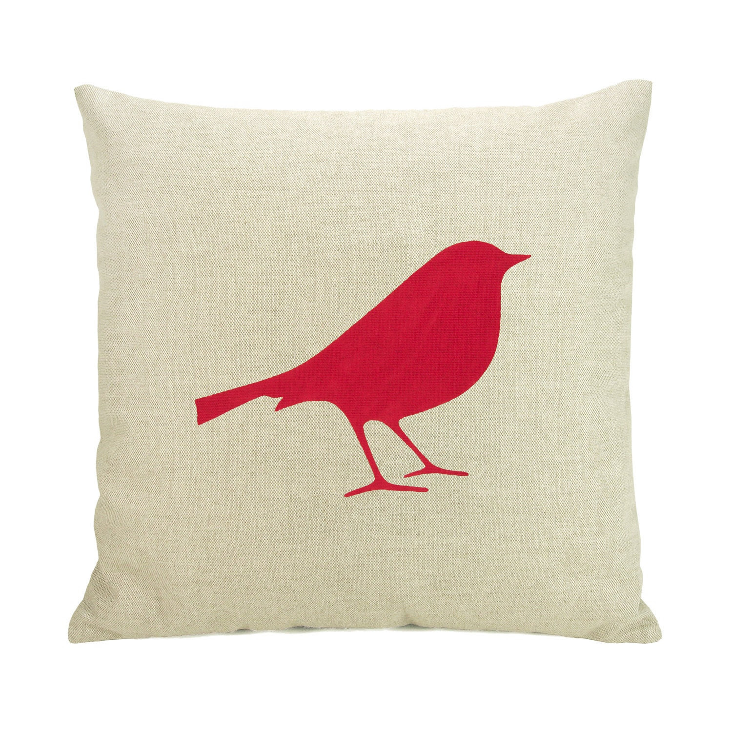 Bird pillow cover -  Red bird print on natural beige canvas throw pillow cover - 16x16 decorative pillow cover - ClassicByNature