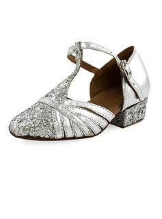 Frauen Kinder Kunstleder Funkelnde Glitzer Heels Flache Schuhe Absatzschuhe Moderne mit T-Riemen Tanzschuhe (053013188)