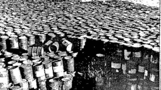 This photograph shows thousands of barrels filled with radioactive waste that were dumped in St Louis.