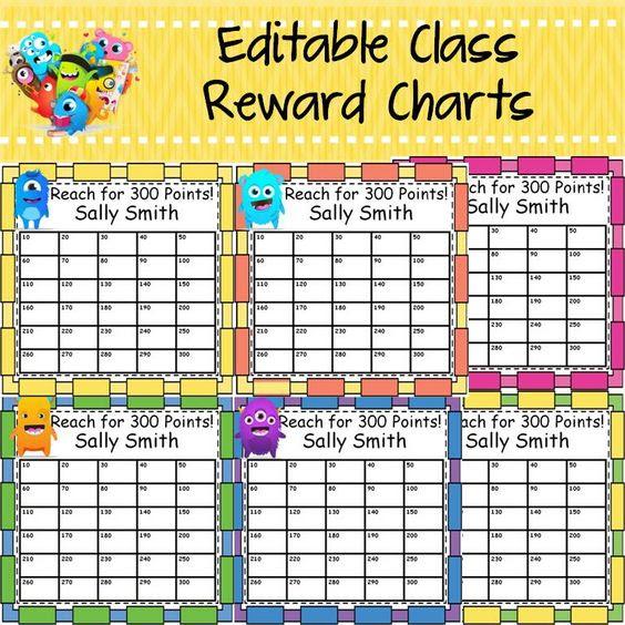 Back to school: behavior management editable class reward charts ...