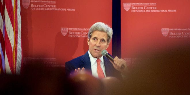 US Secretary of State John Kerry at a Harvard sponsored event Tuesday, October 13, 2015. (Photo: US Department of State)