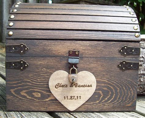 Wedding Card Box   Stained Rustic Wood Fairytale Treasure