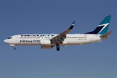 WestJet Airlines Boeing 737-8CT WL C-GAWS (msn 38880) (#100 Boeing 737 NG) LAX (James Helbock). Image: 921696.