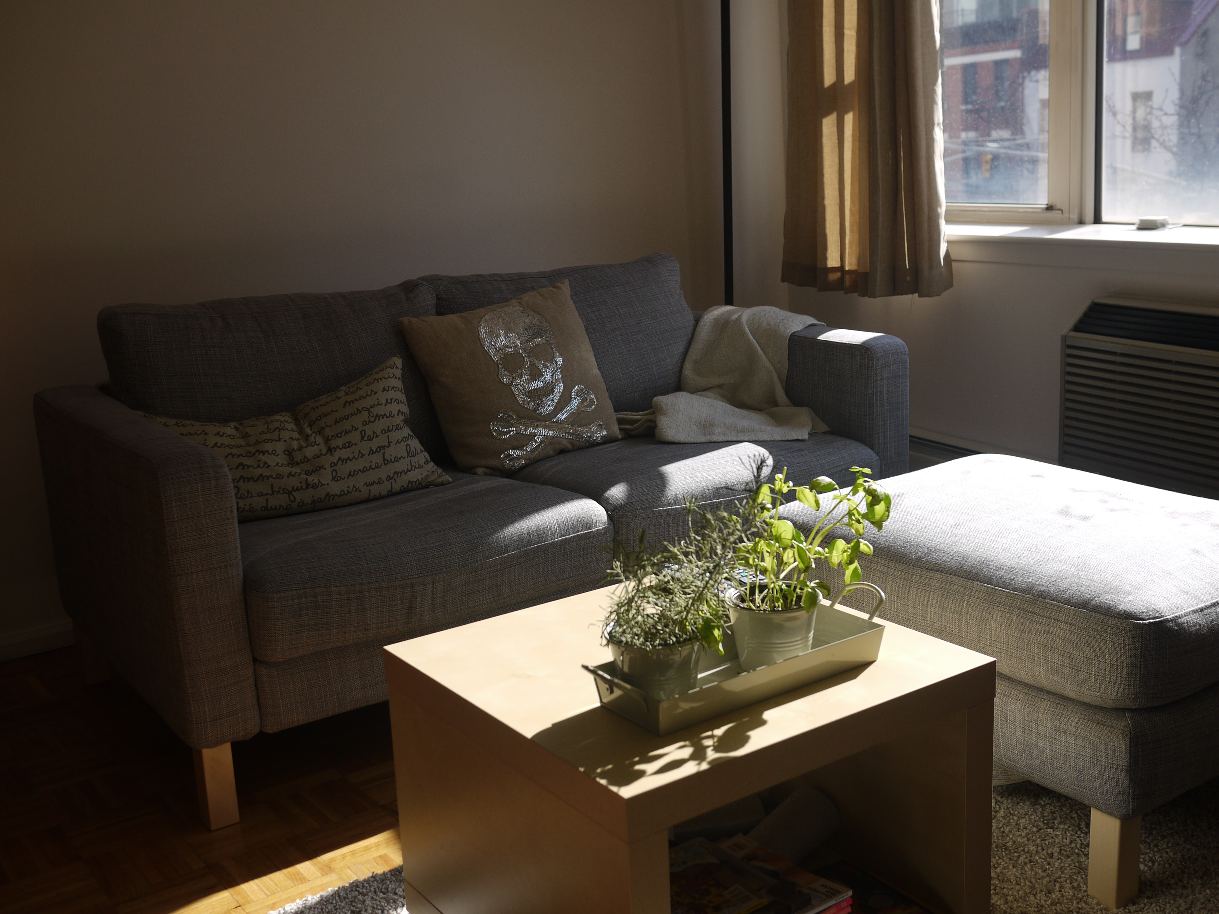 Ikea Karlstad couch and ottoman, Lack side table - Stuff ...