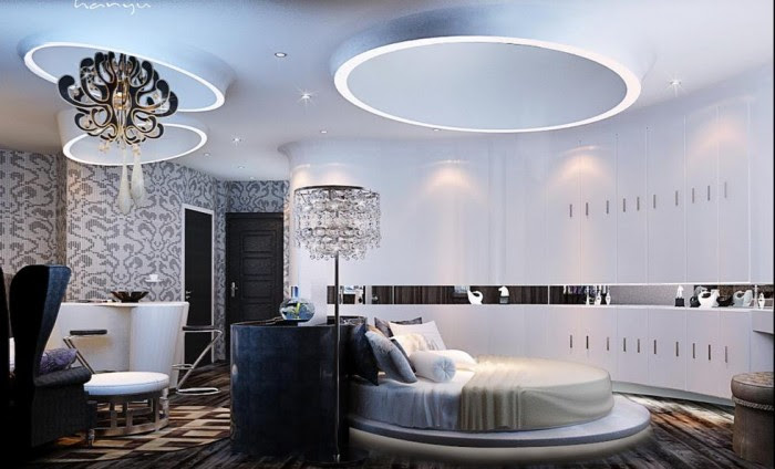 Monochrome mosaic wall print and chandelier circular bedroom china