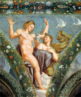 fresco painting of Venus and Psyche by Raphael, 1517-1518