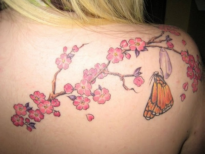 Cherry Blossom Butterfly Tranformation Tattoo On Back Shoulder