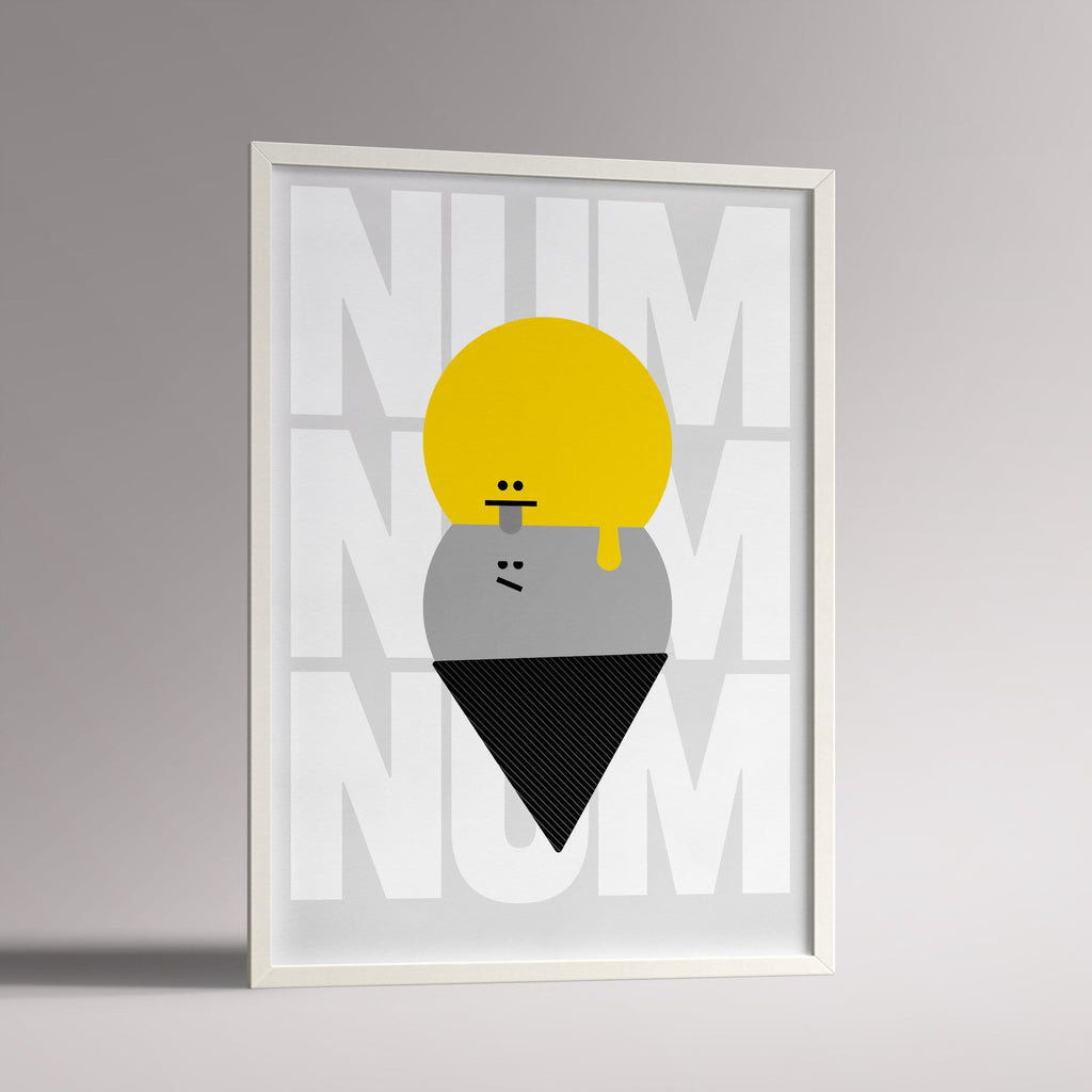 Num Num Yellowgrey Framed A3 Kids Poster Milk And Poop