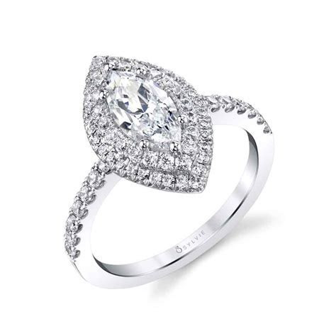 Marquise Double Halo Engagement Ring   Sylvie