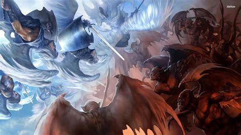 angel  demon wallpaper wallpapersafari
