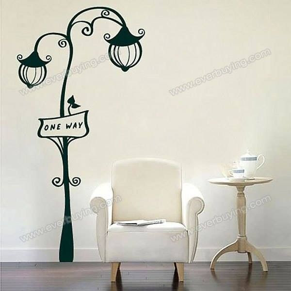 Romantic Street Lamp Pattern PVC Home Decor Wall Sticker