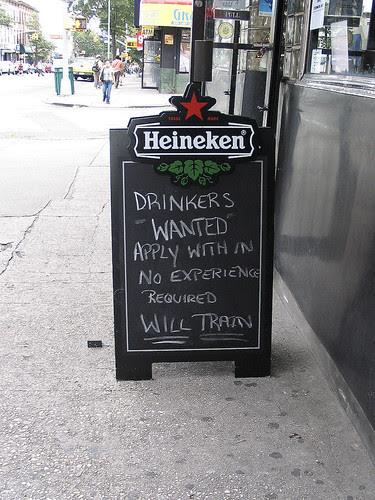 Drinkers wanted, Brooklyn