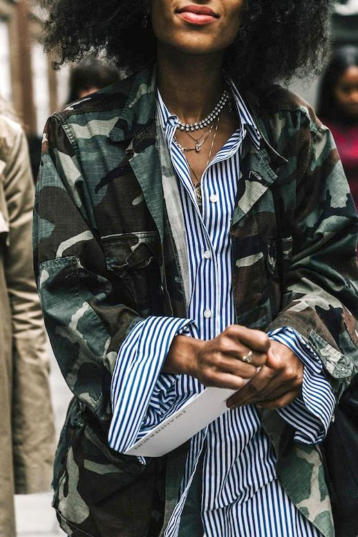 Le Fashion Blog Fall Street Style Lfw Short Curly Hair Layers Necklaces Camo Print Jacket Oversized Striped Button Down Shirt Via Vogue Spain