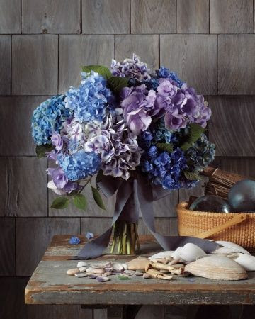 These blue and lavender hydrangea were meant for a waterfront wedding