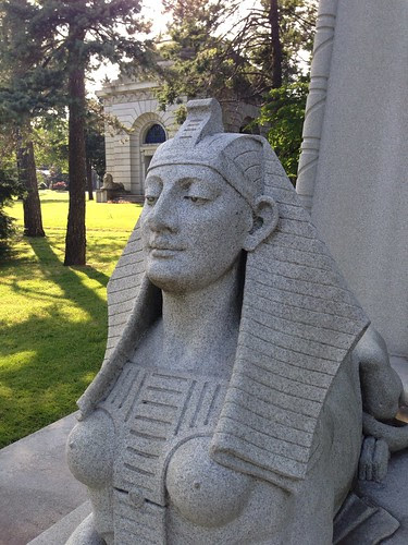 One of the sphinxes, Woolworth tomb, Woodlawn Cemetery
