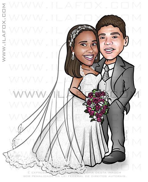 caricatura casal noivos, caricatura casal, caricatura noivinhos, caricatura noivinha negra, caricatura clássica, caricatura para casamento ila fox