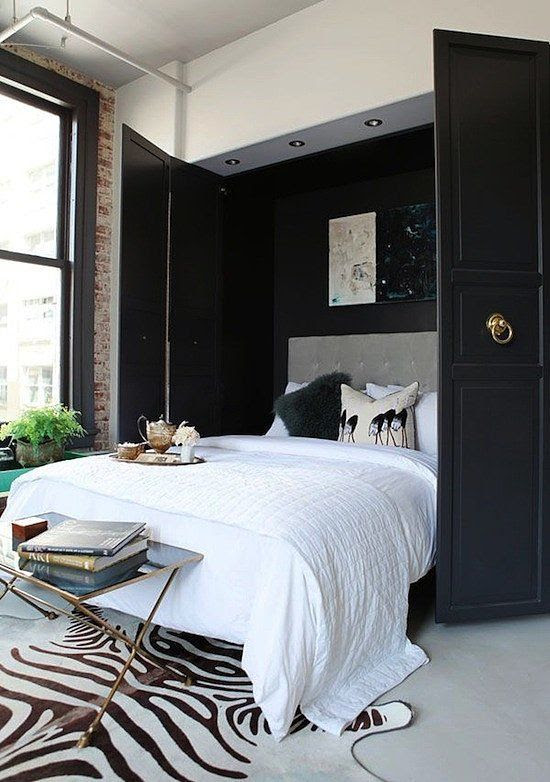 The dilemma: You only have one spare bedroom but desperately need a home office. The solution: Consider installing a murphy bed in the closet to allow for both. Bonus points if you conceal your murphy bed behind glossy doors with cute hardware! Source: Caitlin & Caitlin Design Co.