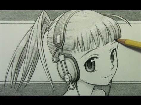 draw  manga girl  headphones youtube
