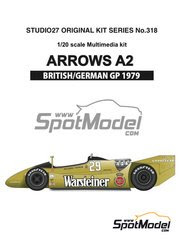 Maqueta de coche 1/20 Studio27 - Arrows Ford A2 Warsteiner Nº 29, 30 - Riccardo Patrese, Jochen Mass - Gran Premio de Inglaterra, Gran Premio de Alemania 1979 - kit multimaterial image