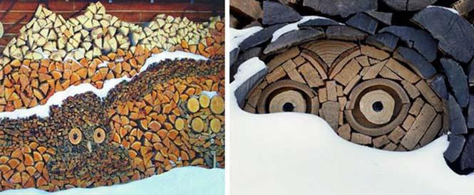 Τέχνη με στοίβες από ξύλα (8)