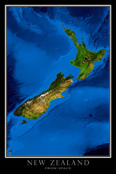 New Zealand Blue Marble Satellite Poster Map Aerial