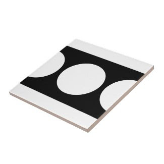 White Circles on Black Small Square Tile