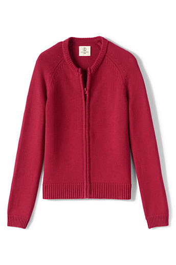 Girls' Performance Zip-front Cardigan - Red, S