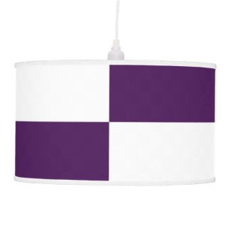 Royal Purple and White Rectangles Pendant Lamp