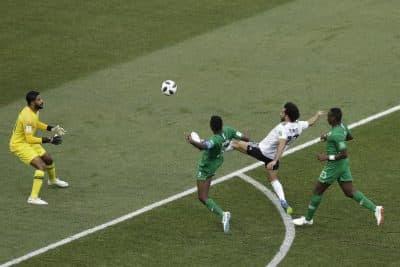 Salah's goal against Saudi Arabia on June 25th. (Themba Hadebe/AP)