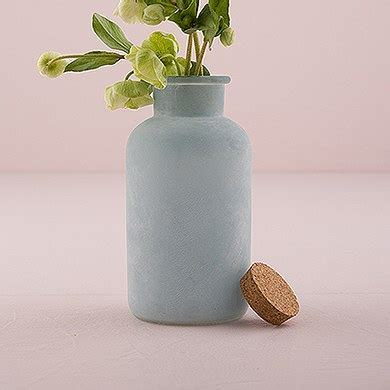 Frosted Sea Blue Bottle with Cork Stopper   The Knot Shop