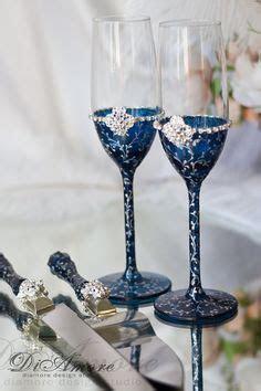 Personalized Wedding Set, Royal Blue, Gold Toasting Flutes
