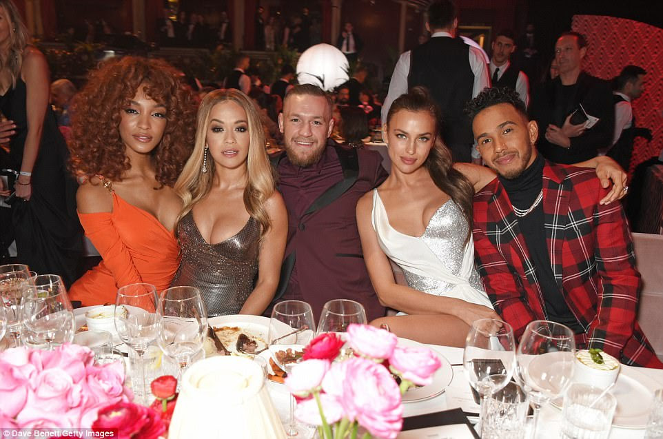 Cheers! (L-R) Jourdan Dunn, Rita Ora, Conor McGregor, Irina Shayk and Lewis Hamilton attend a reception ahead of the gala