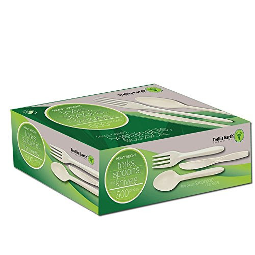"Review Of Trellis Earth TRR-CC64-500 Heavyweight Bioplastic Combo (Forks/Knives/Spoons) Cutlery Retail Box, 6"" Length, Natural (Pack of 500)"