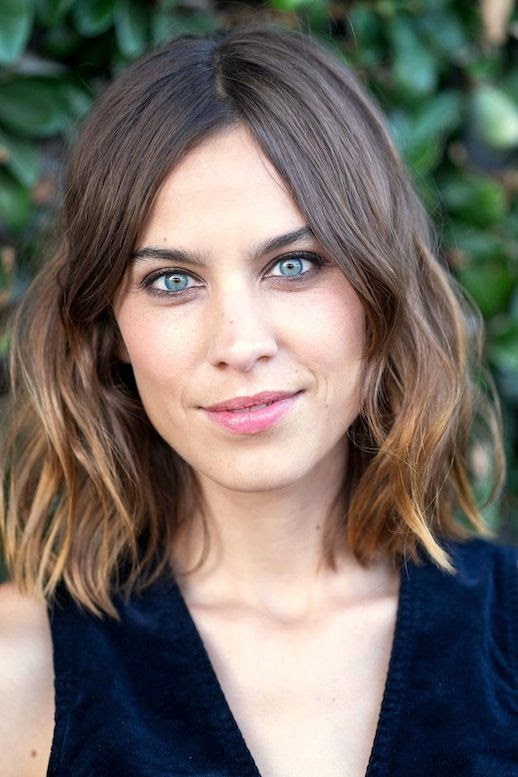 Le Fashion Blog Alexa Chung Hair Inspiration Bold Eyebrows Wavy Long Bob Navy Suede Tank Top Via Grazia