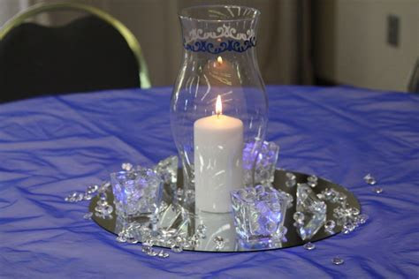 blue and black reception table   Royal Blue and Silver