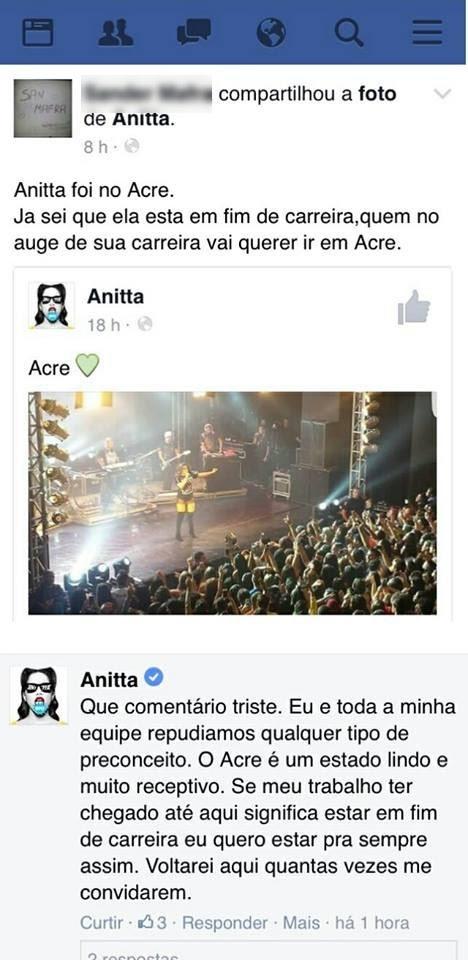 Anitta respondeu comentário preconceituoso sobre shows no Acre (Foto: Reprodução/Facebook)