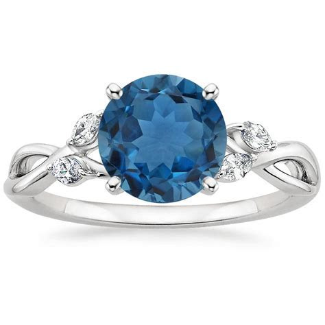 London Blue Topaz Willow Ring in 18K White Gold