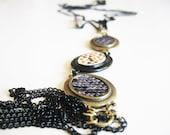 Snakeskin pattern pendant necklace- chain necklace- fringe chain necklace- snake pattern- high fashion - selenedream