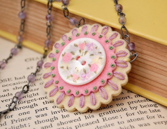Lacy Petals Embroidered Fiber Necklace in Spring Pastels