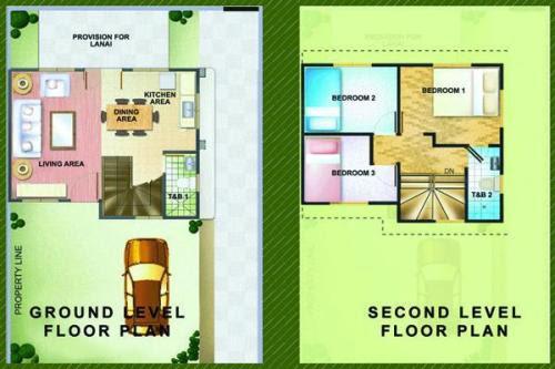 Contoh denah rumah minimalis modern 2 lantai type 36 3 kamar tidur