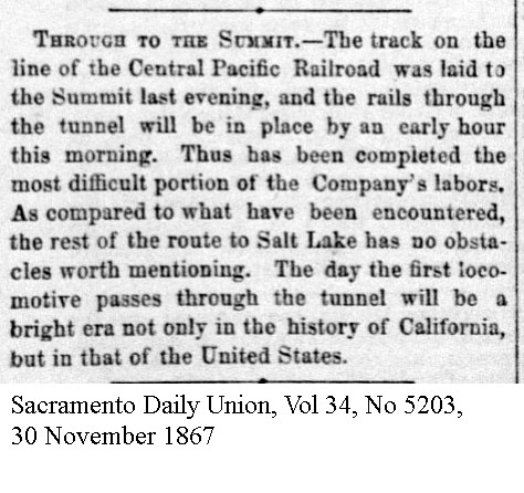 1867 Summit Tunnel Completed - Sacramento Daily Union, Volume 34, Number 5203, 30 November 1867