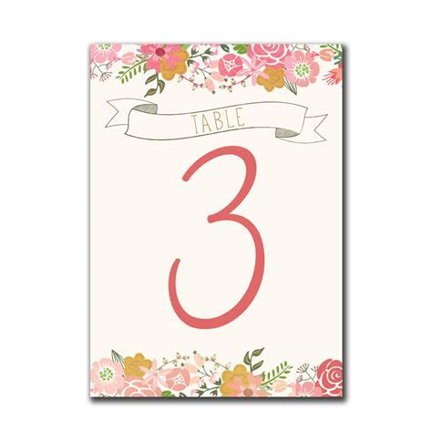Floral Border Table Numbers   The Print Cafe